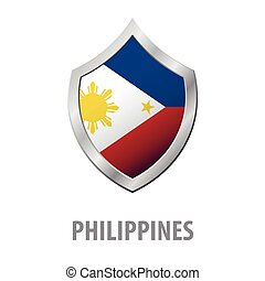 Philippines flag on metal shiny shield vector illustration....