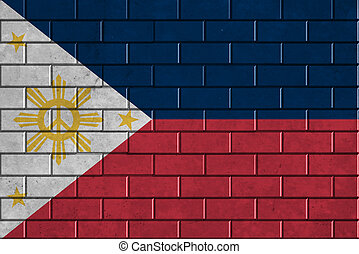 Philippines flag painted on a brick wall