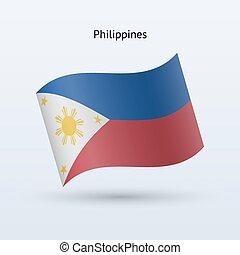 Philippines flag waving form. Vector illustration. -...
