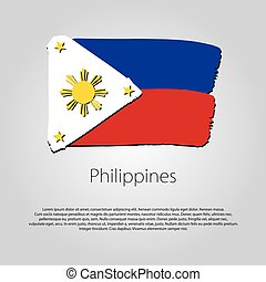Philippines Flag with colored hand drawn lines in Vector...