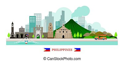 Philippines Landmarks Skyline - Cityscape, Travel and...