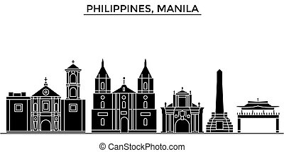 Philippines, Manila architecture vector city skyline, travel...