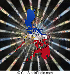 Philippines map flag on currency burst illustration