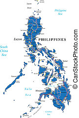 Philippines map - Highly detailed vector map of Philippines...