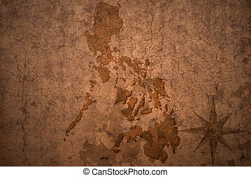 philippines map on vintage crack paper background
