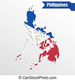 Philippines map with flag inside and ribbon