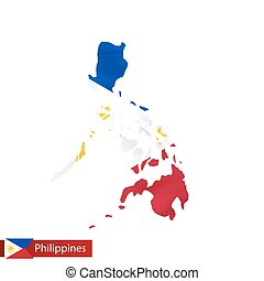 Philippines map with waving flag of country.