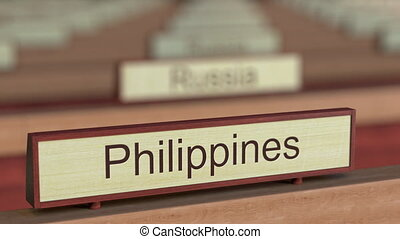 Philippines name sign among different countries plaques at...