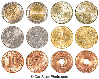 philippines peso coins collection set isolated on white...