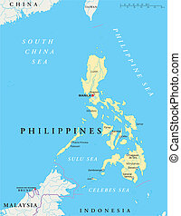 Philippines Political Map with capital Manila, national...