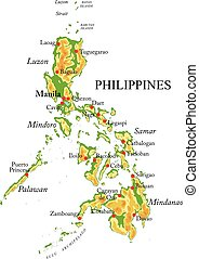 Highly detailed physical map of Philippines, in vector format, with all the relief forms, regions and big cities.