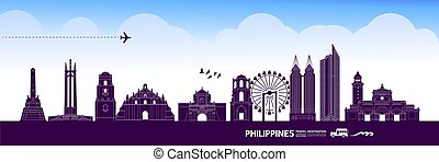 Philippines travel destination grand vector illustration.