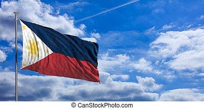 Philippines waving flag on blue sky. 3d illustration