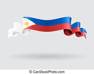 Philippines wavy flag. Vector illustration.