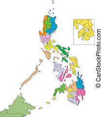 Philippines, editable vector map broken down by administrative districts includes surrounding countries, in color, all objects editable. Great for building sales and marketing territory maps, illustrations, web graphics and graphic design. Includes sections of surrounding country, Malaysia, ...