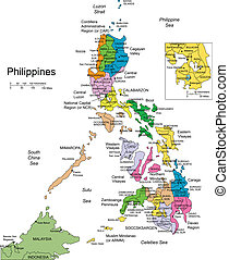 Philippines, editable vector map broken down by administrative districts includes surrounding countries, in color with cities, district names and capitals, all objects editable. Great for building sales and marketing territory maps, illustrations, web graphics and graphic design. Includes sections ...