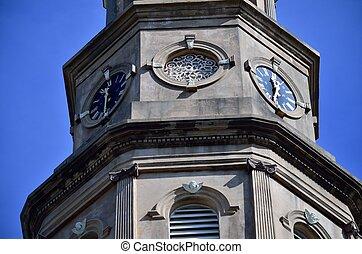 philips, episcopal, s., clocks, iglesia