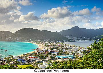 Philipsburg, Sint Maarten, cityscape at the Great Salt Pond.