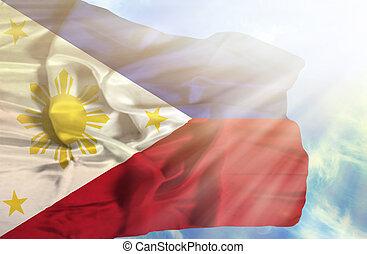 phillipines, bandera ondeante, contra, cielo azul, con,...