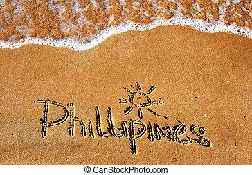 phillipines, palabra, en, playa de arena, plano de fondo