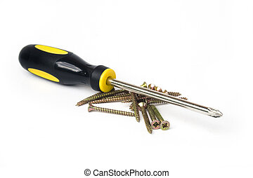 Yellow and black handled phillips screwdriver with pile of scews on white background