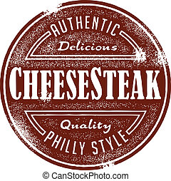 Authentic Philly style cheese steak sandwich menu design element.
