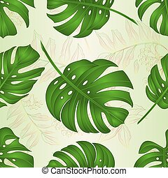 philodendron, feuilles, seamless, texture, vector.eps, exotique, jungle