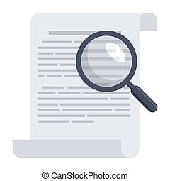 Philology concept with written records and magnifying glass, vector illustration in flat style