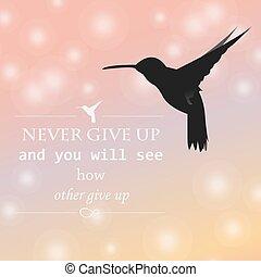Philosophical black hummingbird - Philosophical phrase never...