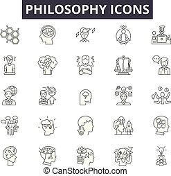 Philosophy line icons, signs, vector set, linear concept, outline illustration