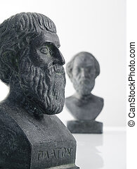 Plato and Homer Isolated on white background, focus on Plato
