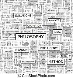 PHILOSOPHY. Seamless pattern. Word cloud illustration.