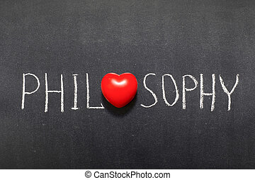 philosophy word handwritten on chalkboard with heart symbol instead of O