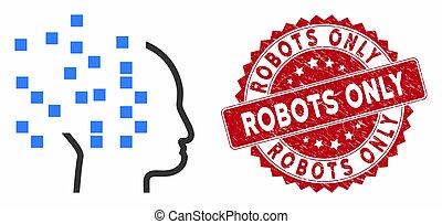 phinking, soltanto, graffiato, digitale, icona, robot,...
