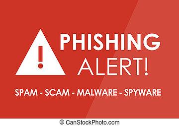 Phishing Alert - PHISHING Alert concept - white letters and...