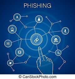 phishing concept, blue background. attack, hacker, cyber crime, fraud icons