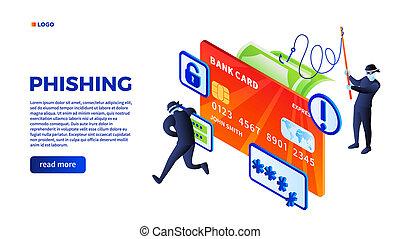 phishing, concept, isométrique, fond, style