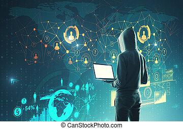 phishing, concept, réseau, social