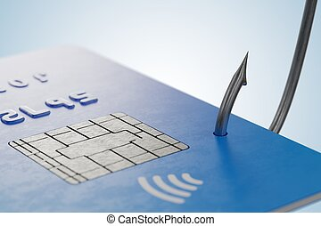 phishing, concept., stehlen, kreditkarte, mit, fischerei, hook., 3d, ren