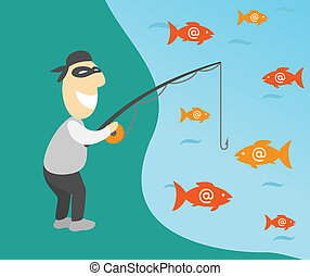 Conceptual vector illustration of internet phishing with fisherman and emails