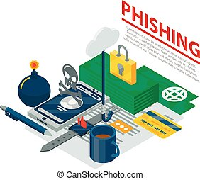 phishing, concetto, isometrico, fondo, stile