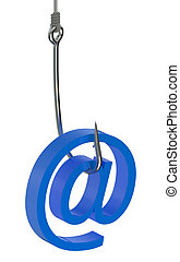 Phishing e-mail concept  isolated on white background