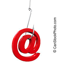 Phishing Fraud Online isolated on white background. 3D render