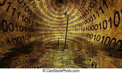 phishing, fraude, binaire, concept, données, contre, appât