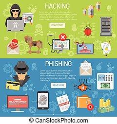 phishing, hacher, bannières, cyber, crime