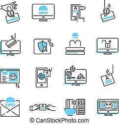 Phishing icon collection set. Vector illustration of privacy data stealing.