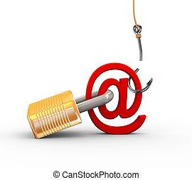 phishing, manqué, tentative, 3d