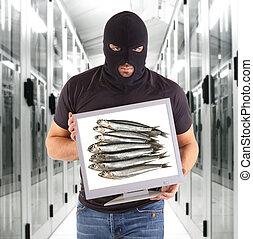 Phishing metaphor with hacker