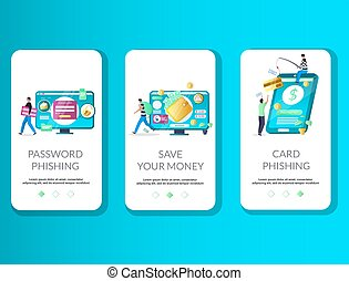 Password and card phishing, save your money mobile app onboarding screens. Menu banner vector template for website and application development. Data phishing, online scam, hacker attack, cyber crime.