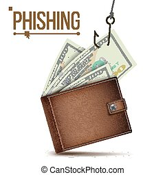 Phishing Money Concept Vector. Internet Security. Cyber Crime. Cartoon Illustration